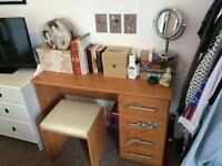 Dressing table with drawers and leather top stool