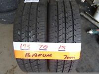 matching pair of 195 70 15 barums 6mm tread £50 FOR PAIR sup &fitd opn 7 dys 5pm