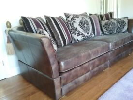 Large 4 seater leather and fabric settee