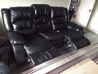 Black Reclining Leather Sofa and Chair Set For Sale