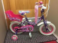 "Raleigh Krush 12"" Wheel Girls Bicycle Purple 3-5yrs"
