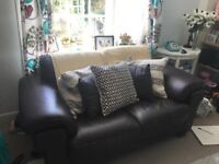 Dark brown two seater leather sofa £50