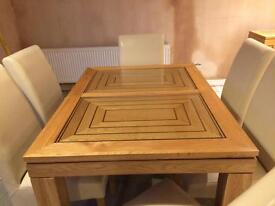 Table, chairs & sideboard