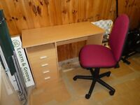 Work Desk + Height & Back Adjustable Chair