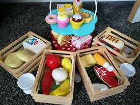 Wooden kitchen toy items.. crates fruit veg mean bread cake stand etc