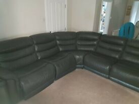 FURNITURE VILLAGE BLACK EATHER RECLINER CORNER SOFABED & ARMCHAIR -MUST GO NOW- CHEAP DELIVERY-£695