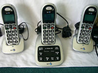 BT 4500 Big Button Trio Cordless phone, with answer machine.