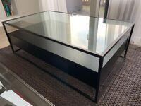 Dwell Darkwood veneer, metal & glass coffee table/Tv table.