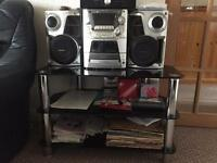 Panasonic Hi fi system and tv table
