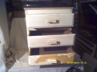 A SMALL , 3 DRAWER CHEST of DRAWERS , EASY TO SMARTEN UP , THE DRAWERS ARE O.K.++++