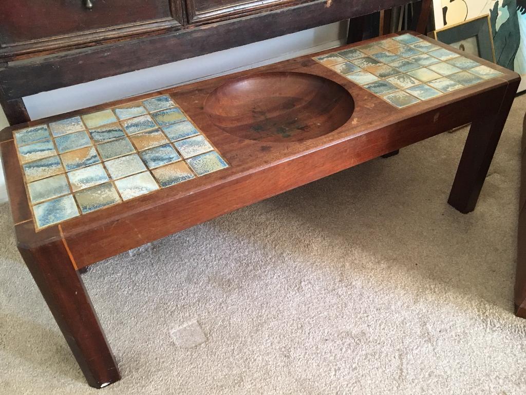 Solid Teak Tiled Coffee Table Retro Vintage