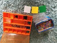 Bundle Hama beads, peg boards, organiser box / tray