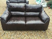 BROWN LEATHER SOFAS FOR SALE - MUST GO ASAP - FREE DELIVERY SOME AREAS - £250