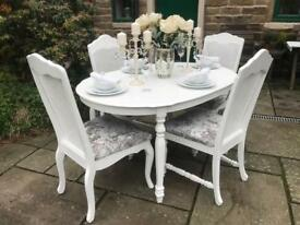 Table & 4 Chairs ~ SILVER CRUSHED VELVET
