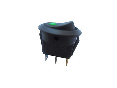 New 12V Round Rocker Dot Car Auto Green LED Light Toggle Switch SPST