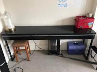 Metal/Wooden Desk Table Black High Gloss