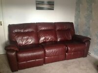 REAL LEATHER RECLINING 3+2 SEATER DFS SOFAS