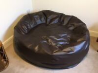 Two Seater Faux Leather Bean Bag Sofa in Brown
