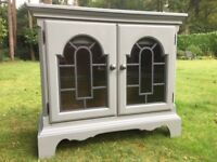Hand painted oak sideboard with glass fronted doors