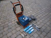 Pickhill Bantam oil cooled arc welding set complete with trolley, visors, rods