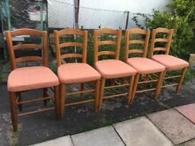 5 x Solid wood dining chairs, seat pads unmarked (5 for £50)