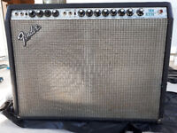 Fender Twin Reverb Silverface vintage amp with flight case