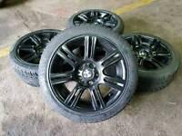 "GENUINE BMW 17"" ALLOY WHEELS & 7MM TYRES 5X120 1 2 3 SERIES MSPORT VW T5 VIVARO TRAIFC"