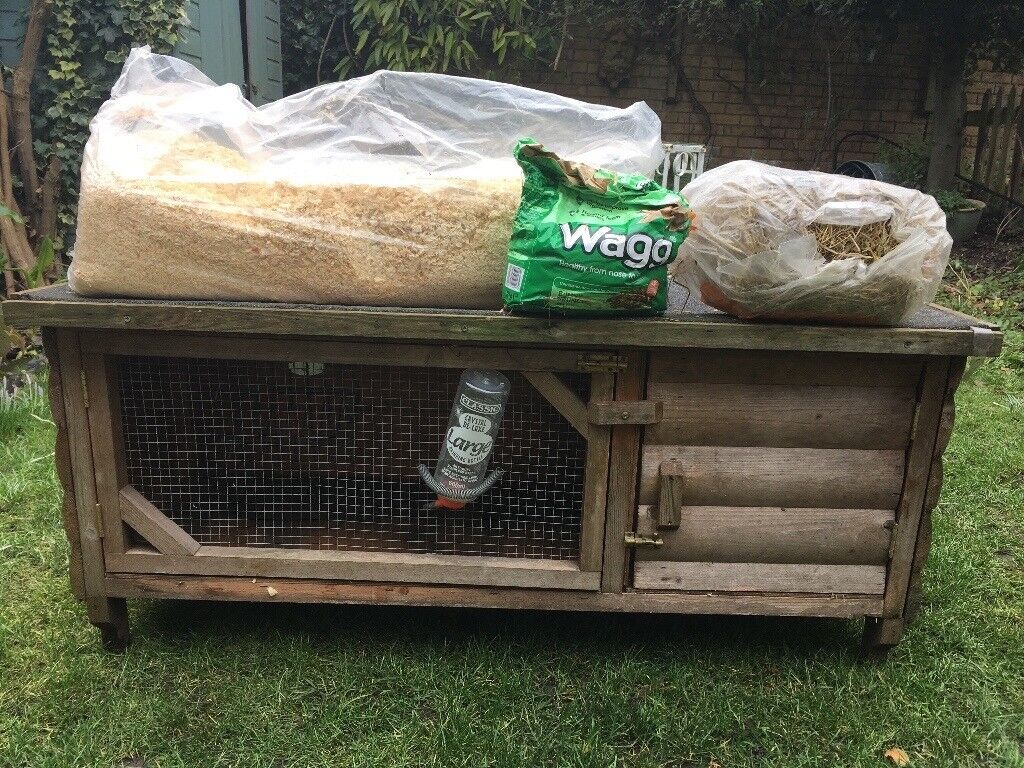 Rabbit or guinea pig wooden hutch and extras