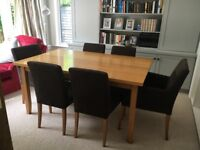 Solid Oak Table and 6 Chairs - 2 carver and 4 dining