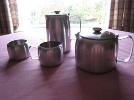 Vintage Old Hall tea pot, coffee pot, jug and sugar bowl