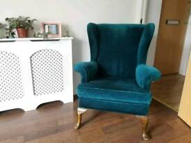 Teal Velvet Parker Knoll Wing Arm Chair