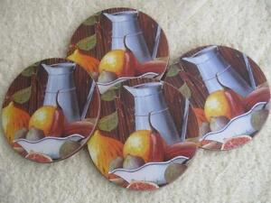 VINTAGE [60s] SET of FOUR DELUXE THICK HI-CLASS NEVER-USED GLASS COASTERS