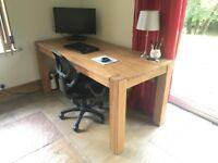 Large Solid Oak Rustic Computer Desk