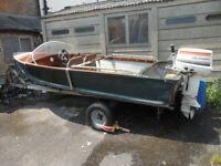 aluminium boat johnson 25hp outboard 1950-60 pearly miss speedboat