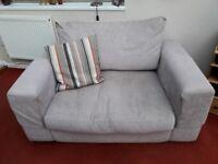 2 x two seater sofa's, beige fabric, modern design