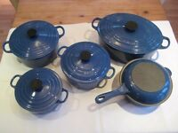 Le Creuset Stoneware Gratin Dish in Marseilles Blue & 7 Tier Pot-stand