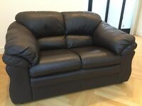 Real Leather Brown 2 Seater Sofa in Excellent condition.