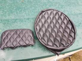 Scooter wheel cover and backrest pad