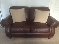 2 x Sterling Two Seater Brown Leather Suite
