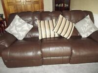 two recliner brown leather sofa's two and three seater, re-advertised .VGC