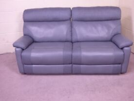 QUALITY EX DISPLAY 'LAUREN' 3 SEATER POWER RECLINING SOFA IN TWO TONE GREY FABRIC SETTEE SUITE