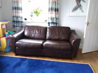 ''John Lewis'' Brown Leather 2 Seater Bed Settee.