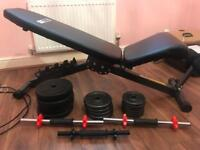 Weighs bench and variety of weights