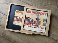 Monopoly Board Game in Wooden Box Christmas All Pieces Intact