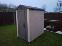 Keter Factor Outdoor Plastic Garden Storage Shed, 4 x 6 feet - Beige