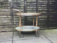 Vintage drinks trolley with faux marble tops, brass metalwork & bottle holders