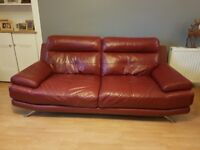 2 x Red Leather Sofa