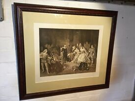 Victorian Print - Shakespeare Reading Macbeth at the Court of Elizabeth