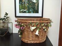 Adorable wooden wicker bike basket with handle