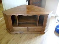 Tv Unit /Cabinet /Stand Oak colour waxed Pine unit from Leekes of Melksham
